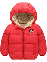 Boys Girls Hooded Down Jacket Winter Warm Fleece Coat Windproof Zipper Puffer Outerwear 2T-7T