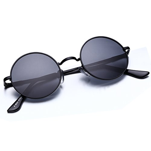 Argus Le Lennon Retro Round Sunglasses, Vintage Polarized Hipple Glasses with Plain Lens
