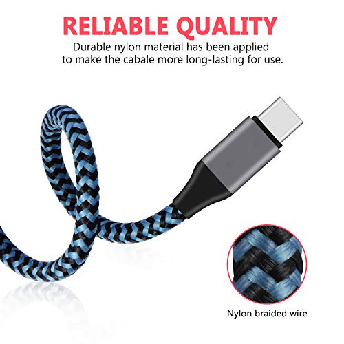 Price comparison product image USB Type C Cable, 2-Pack 6ft USB A 2.0 to USB-C Fast S9 Charger Cable Nylon Braided Charging Cord Compatible Samsung Galaxy S9 S8 Plus Note 9 8, Google Pixel XL,USB C Devices (Blueblack)