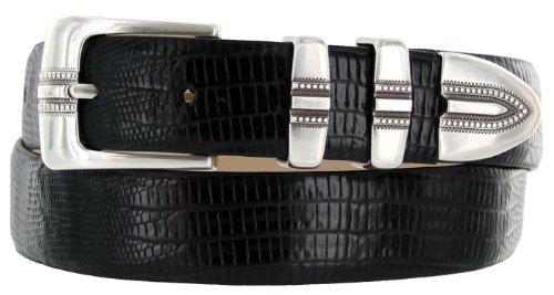 Lizard Dress Belt (Kaymen Italian Calfskin Leather Designer Dress Golf Belts for Men 1-1/8