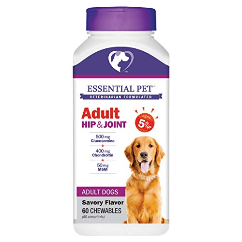 (Essential Pet Products Adult Dog Hip & Joint Support Chewable Tablet Age 5+ with 500mg Glucosamine & 400mg Chondroitin)