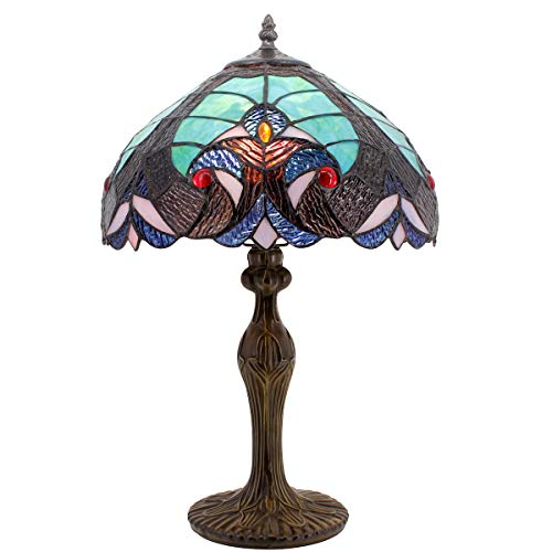 Tiffany Style Lamps Green Liaison Stained Glass Table Lamp Lighting Height 18 Inch for Living Room Antique Desk Beside Bedroom - Antique Green Table Lamp