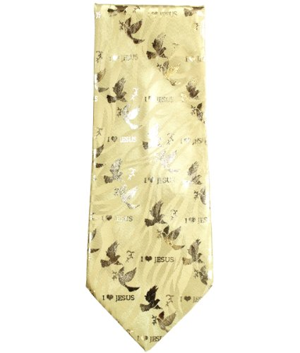 Modadorn I Love Jesus Dove Religious Men's Gold Neck Tie with Pocketchief(Handkerchief) Easter Sunday Fashion / Clothing / Accessories