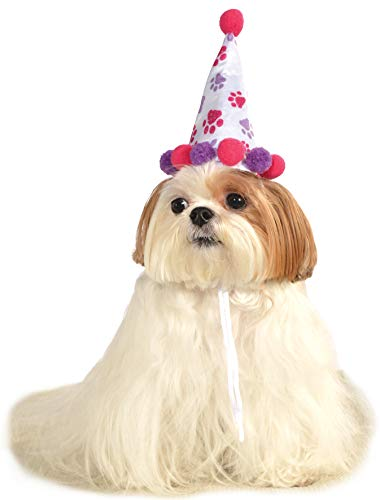 Rubie's Pet Birthday Hat, Small to Medium, Purple and Red Paw Print -
