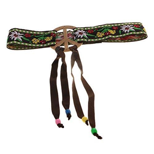 B Blesiya Hippy Adults Women Peace Sign Hippie Headband Flower Hairband 70s Costume Cosplay Headpiece Accessory ()