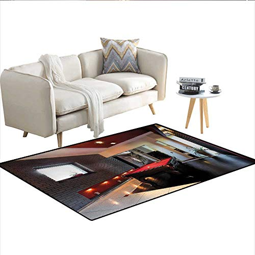 """Floor Mat,House with Snooker Table Hobby Pool Game Flat Furniture Leisure Time Print,Small Rug Carpet,Red Brown WhiteSize:40""""x55"""""""