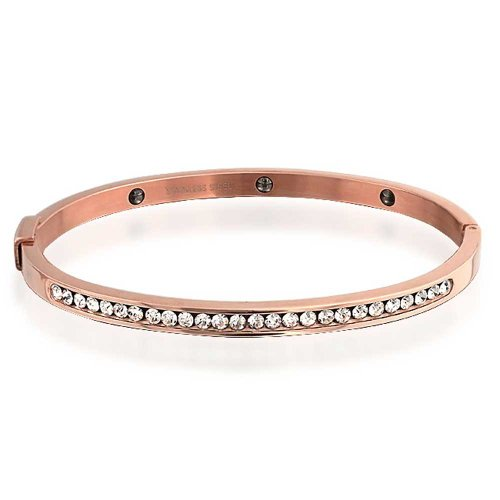 UPC 640626718585, Bling Jewelry Stainless Steel Rose Gold Plated Magnetic CZ Bangle Bracelet