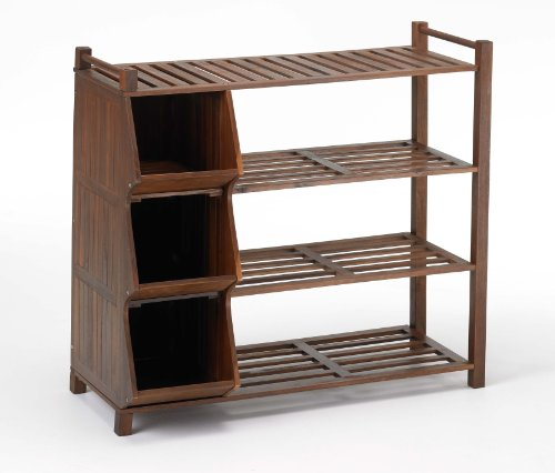 Merry Products SLF0020110000 4-Tier Outdoor Shoe Rack and Cubby (Shoe Rack Cubby)