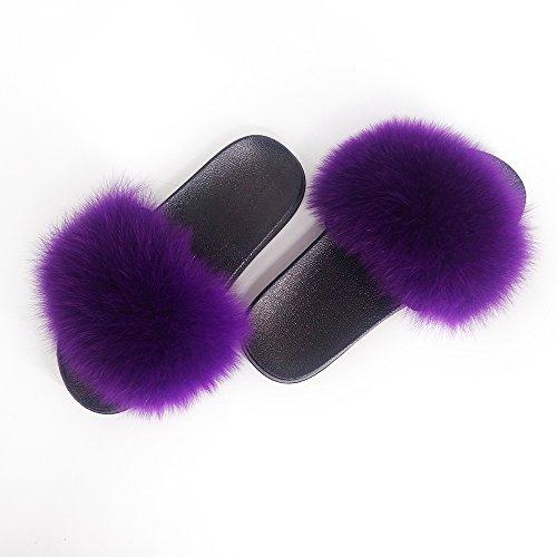 Manka Vesa Women Real Fox Fur Feather Vegan Leather Open Toe Single Strap Slip On Sandals Purple 1,10(inner length 11.02in width3.74in) ()