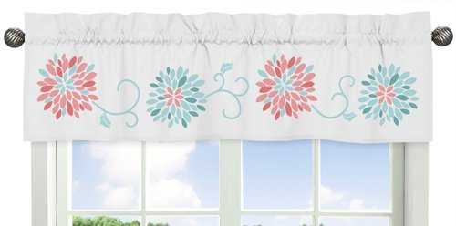 Sweet Jojo Designs Turquoise and Coral Emma Collection Window Valance (For Windows Turquoise Valances)