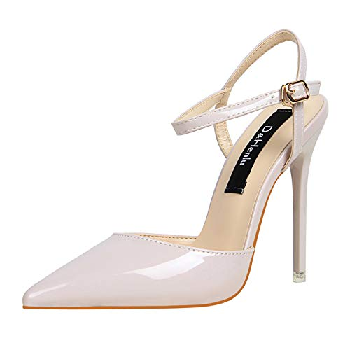 (DOUSTY& Wedding Shoes Party Shoes Women Pointed Toe Slingbacks Pumps Thin Heel Buckle Strap High Heels Pumps Sexy White Pump Light Purple Heels 5)
