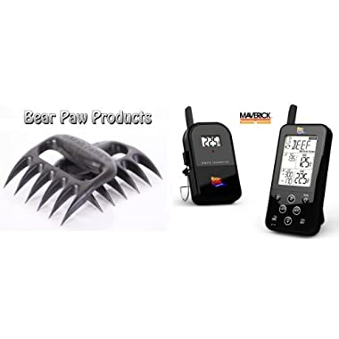 Maverick ET733 Wireless BBQ Meat Thermometer, Black, Newest Addition, Includes BEAR PAW Meat Handler Forks