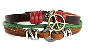 Think Peace Symbol Peace Sign Multi Strand Rugged Leather Zen Bracelet in Gift Box