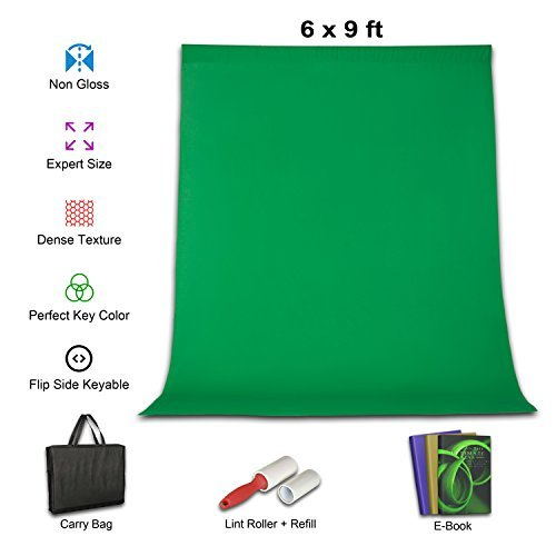 Green Screen Kit 6x9 Ft Photography Studio Backdrops |Chromakey Background Cloth for Videos & Gaming |100% Cotton Quality Woven Muslin |Bonus Zipper Bag and Lint Roller plus Extra Refill with 3 ebooks from Aurora Studios