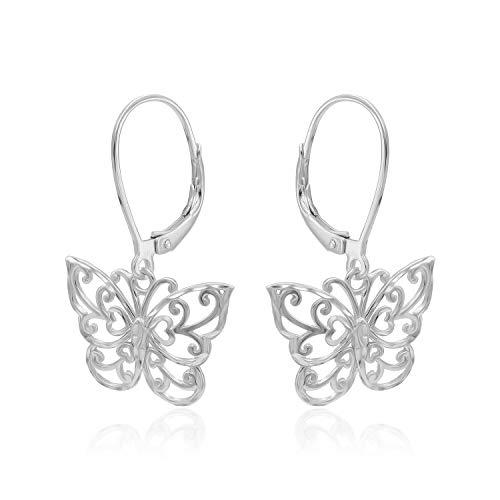 (Sterling Silver Diamond-Cut Filigree Butterfly Leverback Dangle Earrings)
