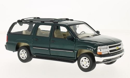 Chevrolet Suburban, metallic-dark green, 2001, Model Car, Ready-made, - Welly Models