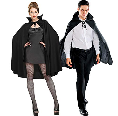 Amscan Black Cape Deluxe Halloween Costume Accessory for Adults, One Size