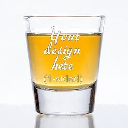1.5 oz Custom Shot Glass – Glass Etched Personalized Shot Glass – Single Sided For Sale