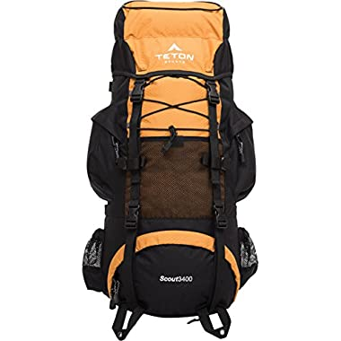 TETON Sports Scout 3400 Internal Frame Backpack; Great Backpacking Gear or Pack for Camping or Hiking, Mecca Orange