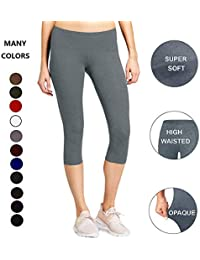 9433881d69d9 High Waisted Soft Capri Leggings for Women-Tummy Control and Elastic Opaque  Slim-One