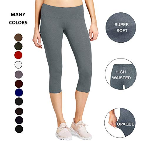 High Waisted Soft Capri Leggings for Women-Tummy Control-One/Plus Size 20+Design  (Gray, Plus Size (US ()