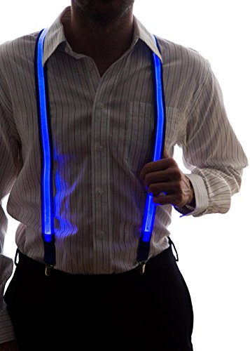 Neon Nightlife Men's Light Up LED Suspenders, One Size, Blue - Rave Outfits Cheap