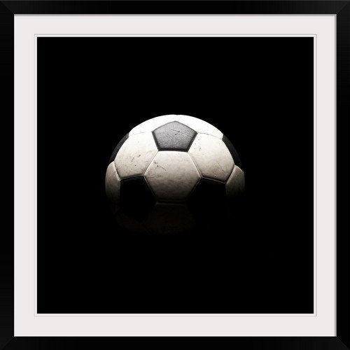 GreatBIGCanvas ''Soccer Ball in Shadows '' Photographic Print with black Frame, 30'' X 30'''' by greatBIGcanvas