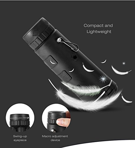 40x60 HD Mini Monocular Telescope With Tripod Cell Phone Holder,Compass and Low Light Night Vision for Outdoor Birding Travel Sightseeing Hunting by iSincere (Image #7)
