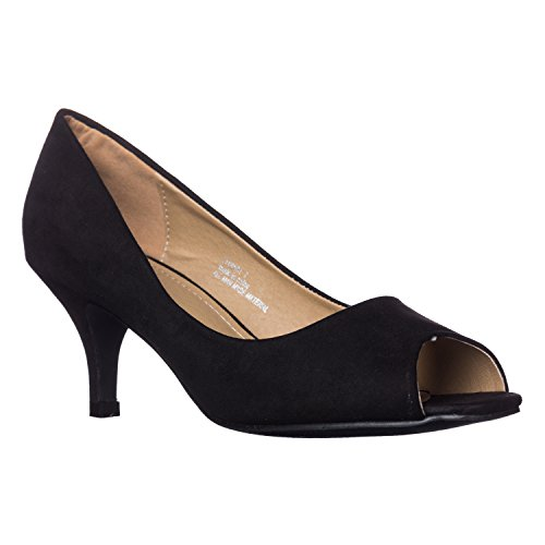 Riverberry Women's Lydia Open, Peep Toe Kitten Heel Pumps, Black Suede, ()