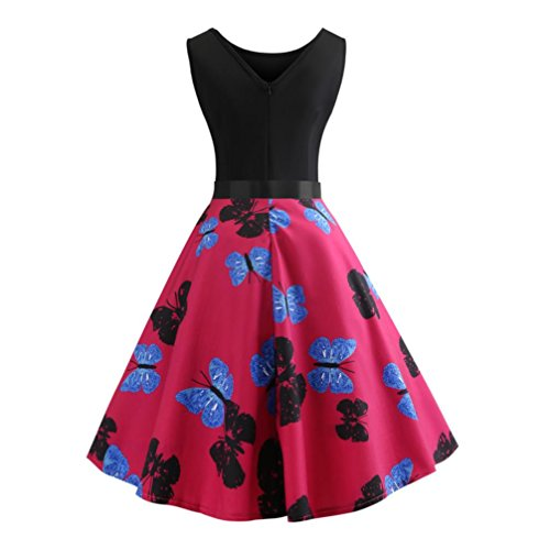 odaies Women Vintage Bodycon Sleeveless Dress Casual Retro Evening Party Prom Swing Dress 2018 (XL, Hot Pink 2) ()
