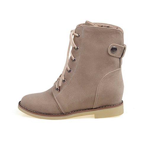 AgooLar Women's Round-Toe Low-Heels PU Solid Lace-up Boots Beige qsSHFqdkR