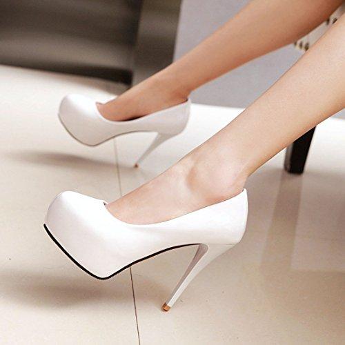 YE Damen Stiletto Pumps Geschlossene Lack High Heels Plateau mit 12cm Absatz Elegant Simple Party Schuhe Weiß