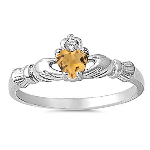 (925 Sterling Silver Faceted Natural Genuine Yellow Citrine Claddagh Heart Promise Ring Size 1)
