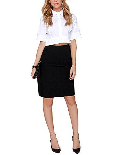 HAOYIHUI Women's Lapel Half Sleeve Button Down Crop Shirt Top(XXL,White) (Buttons Sleeve Lapel Collar)