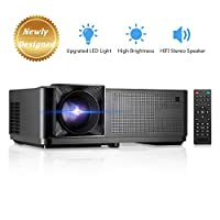 Projector (Newly Designed), GBTIGER 4000 Lux LED Video Projector Full HD 1080P Supported Home Projector Compatiable with Fire TV Stick, PS4, HDMI, USB, VGA, AV for Movie Party and Game