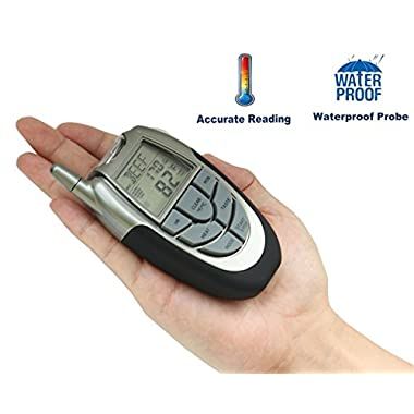Wireless Meat Thermometer with Waterproof Probe Timer for BBQ Grill Oven - include Probe Cable Organizer and Sleeve