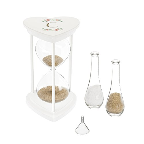 (Cathy's Concepts 3967W-7-C Personalized Floral Ceremony Hourglass Set Unity Sand, one size, white)