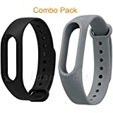 Epaal Wristband Strap for Xiaomi Mi Band 2 and Mi Band HRX Edition with Adjustable Buckle (Combo: Black + Gray)
