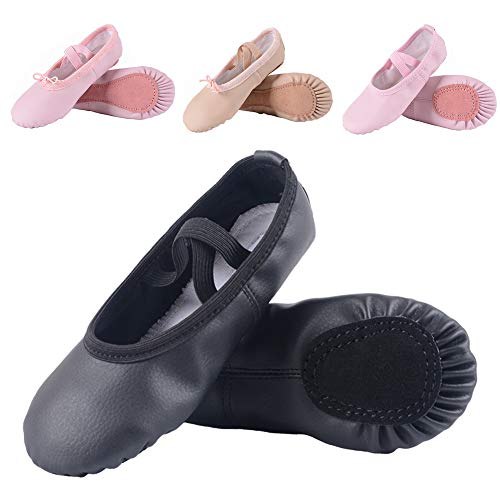 Ruqiji Leather Ballet Shoes for Girls/Toddlers/Kids/Women, Full Sole Leather Ballet Slippers/Dance Shoes]()