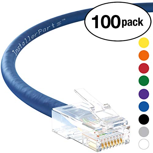 1' Cat6 Booted Cable - InstallerParts (100 Pack) Ethernet Cable CAT6 Cable UTP Non-Booted 1 FT - Blue - Professional Series - 10Gigabit/Sec Network/High Speed Internet Cable, 550MHZ