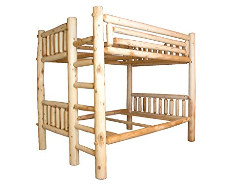 Rustic White Cedar Log Bunk Bed Amish Made in The USA - Full Over Queen