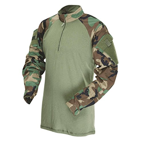 Woodland Army Camo Cotton T-shirt (TACTICAL RESPONSE UNIFORM (TRU) 1/4-ZIP COMBAT SHIRT 50/50 Nylon/Cotton Rip-Stop, 2545003 )