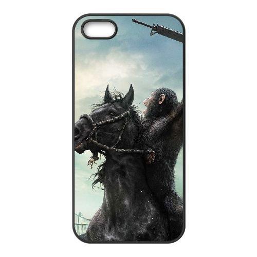 Dawn Of The Planet Of The Apes 2 coque iPhone 5 5S cellulaire cas coque de téléphone cas téléphone cellulaire noir couvercle EOKXLLNCD23109