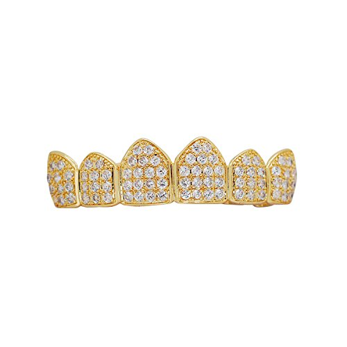 (Hip Hop Bling Iced Out Yellow or White Gold-Tone Lab Cubic Zirconia Kevin Gates Top Custom Grillz Grill with Mold Bar (Yellow-Gold-Tone) (Yellow-Gold-Tone))