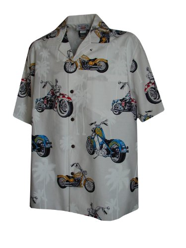 Pacific Legend Mens Motorcycle in Paradise Shirt in White - M (Shirt Hawaiian Motorcycle)