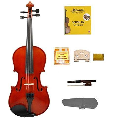 Merano 1/10 Size Acoustic Violin with Hard Case, Bow+Free Rosin+2 Bridges+Extra Set of Strings+Pitch Pipe