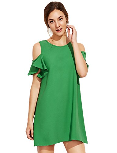 Milumia Women's Summer Cold Shoulder Ruffle Sleeves Shift Dress Green L Photo #5