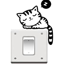 4U-Lucky Cute Cat Funny Switch Stickers wall Stickers