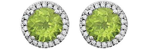 Peridot and Diamond Halo Button Earrings, Rhodium-Plated 14K White Gold (.13 Cttw, Color HIJ, Clarity I1-I2) by The Men's Jewelry Store (for HER)