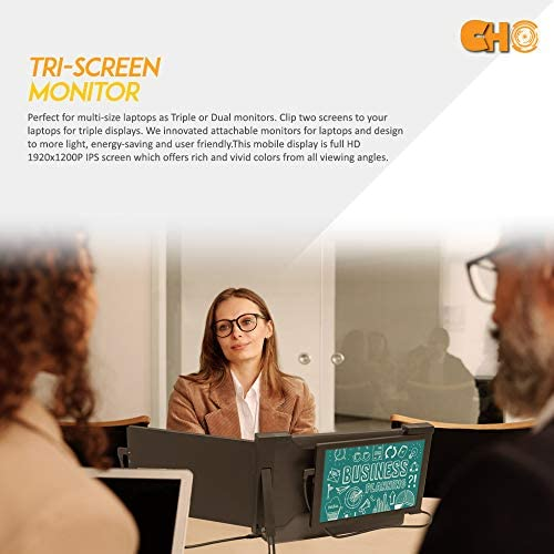 "Dual Portable Extended Monitor Laptop Screen Extender Triple Laptop Monitor Display Compatible with 13""-17"" Mac PC HD 1080P IPS Display USB A/Type-C Power Attachable Foldable Screen (11.6 Inch)"